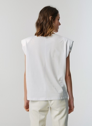 Monamoda V Yaka Vatkalı T-Shirt Beyaz